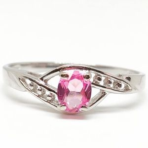 10k White Gold Oval Cut Genuine Pink Sapphire Ring
